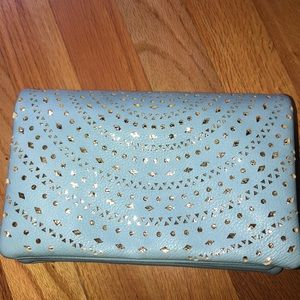 Street Level Clutch purse in baby blue/gold